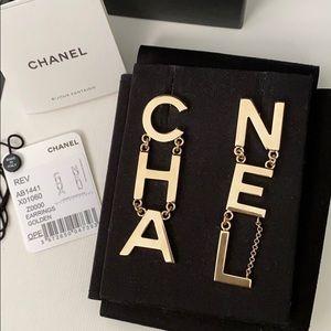 Chanel Logo Earrings CHA NEL